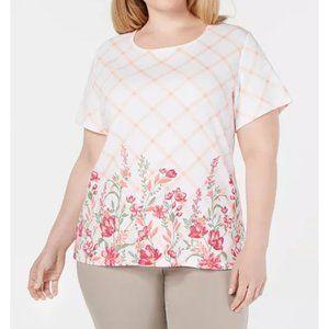 Karen Scott Womens PLUS Check Print Floral…